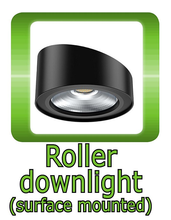 Roller surface mounted Downlight